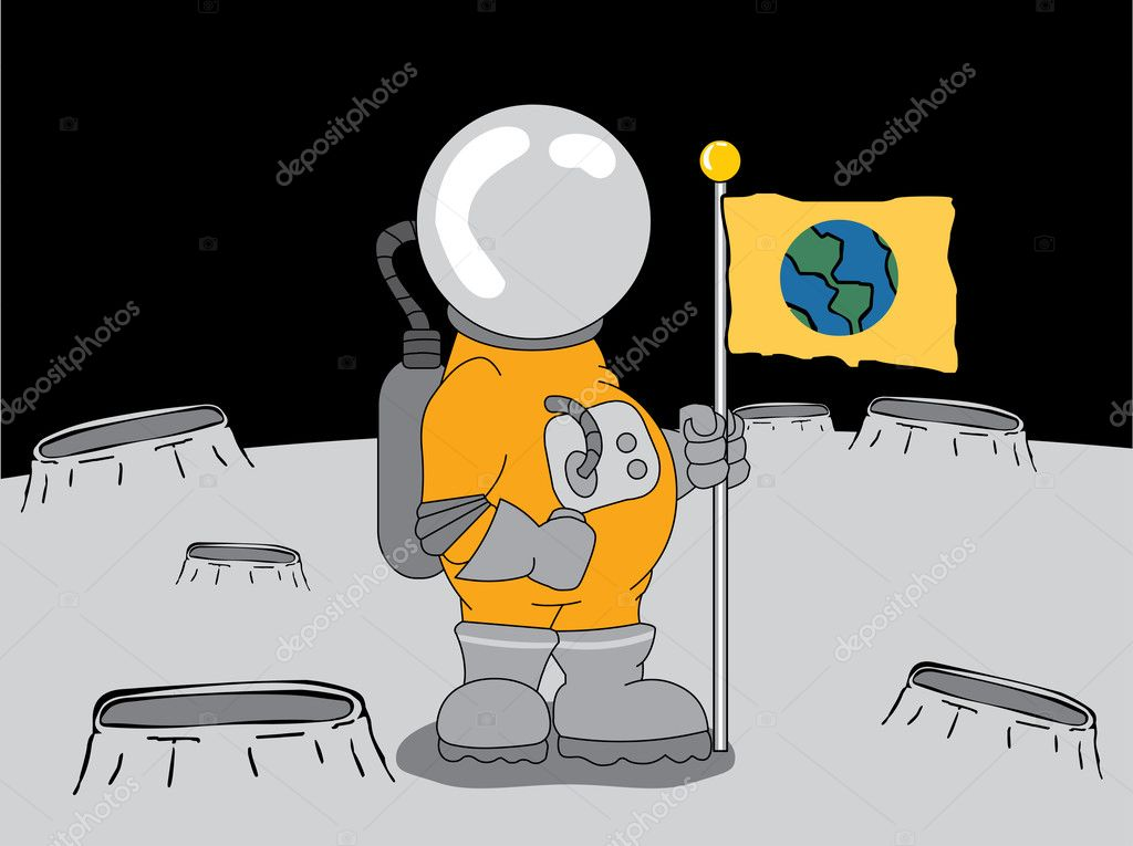 Space explorer placing flag on surface of planet — Stock Vector #2572666