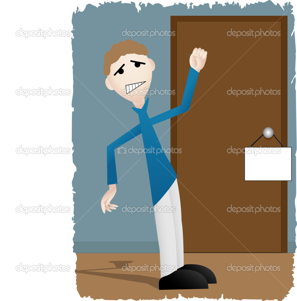 Unhappy male attempting to access room with blank sign — Stock Vector #2572674