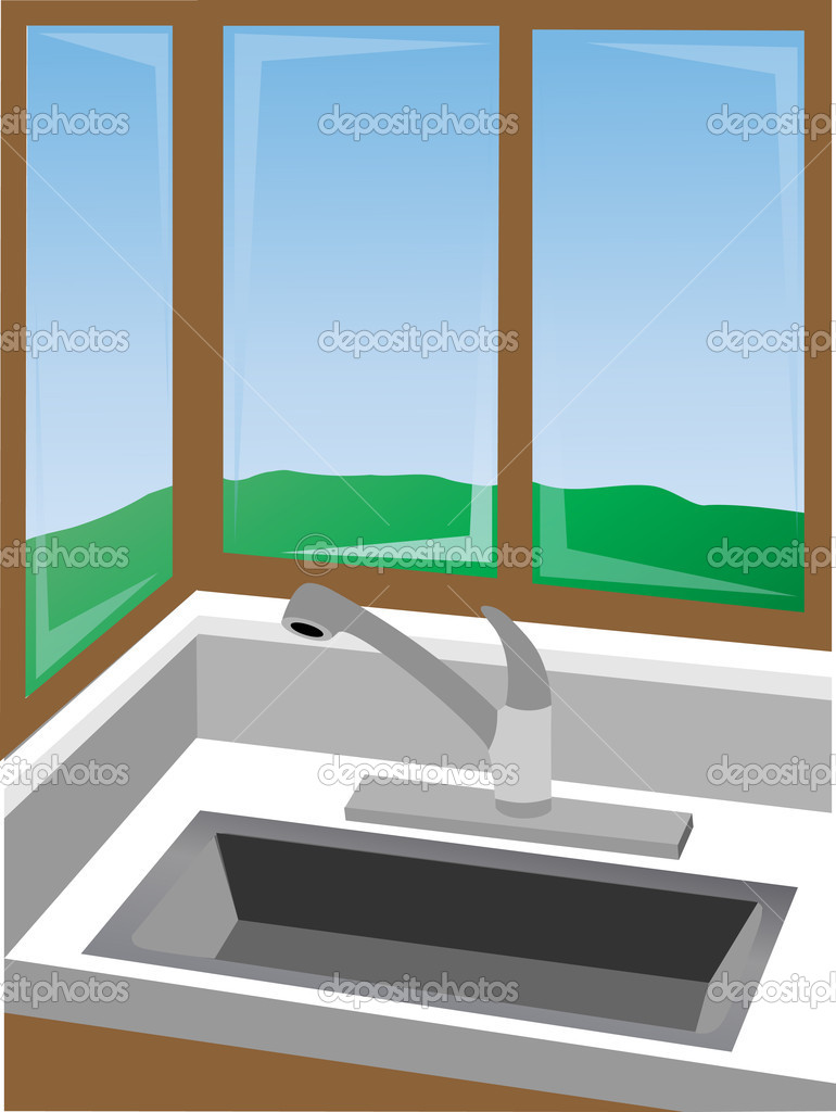 Kitchen Corner Kitchen Corner At Sink Surrounded By Win Stock Vector