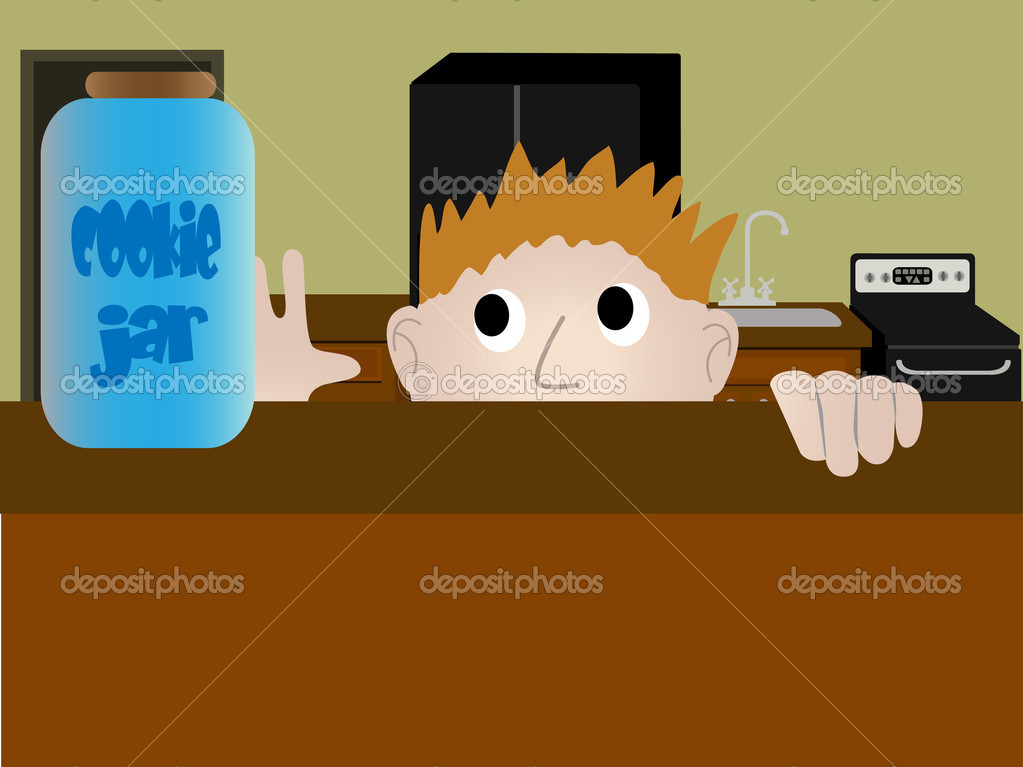 Child sneaking a cookie from the a jar in the kitchen — Stock Vector #2573139