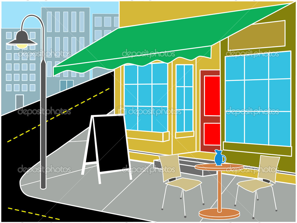 Restaurant entrance on corner with table, chairs and sandwich near street  Stock Vector #2573176