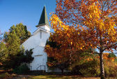 Old White Church in Autumn — Stock Photo