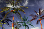 Plastic Palm Trees against Blue Sky — Stock Photo