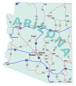 Arizona State Interstate Map — Stock Vector
