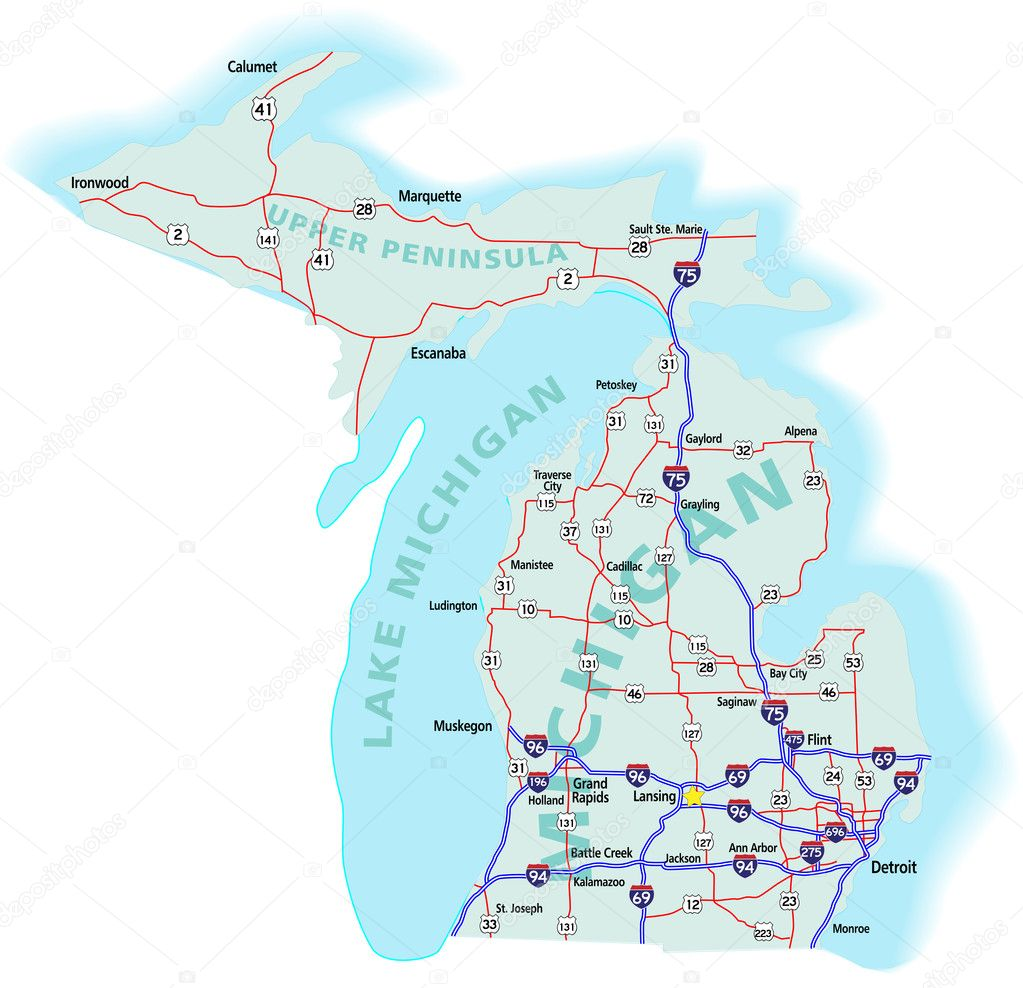 Michigan State Interstate Map  Stock Vector