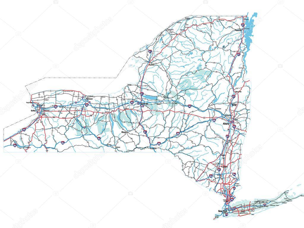 New York State Interstate Map Vector suwanneeredhead – Road Map Nyc