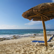 Palapa and Beach Chair - Stock Photo