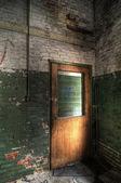 Wood Door and Green Wall — Stock Photo