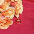 Rose with wedding rings — Stock Photo