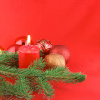图库照片: Christmas still life with red candles an