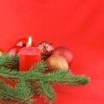 Vánoční Zátiší s červenými svíčkami — Stock fotografie