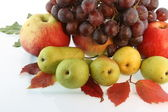 Still Life grapes, pears and autumn leav — Stock Photo