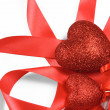 Stock Photo: Valentines hearts and ribbon