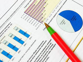 Red ball-point pen on business chart — Stockfoto
