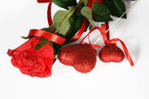 Rose and valentine's heart — Stock Photo
