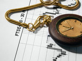 Business analyze graph and watch — Stock Photo