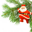 Christmas tree with santa klaus - Stock Photo