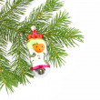 Foto Stock: Christmas tree- fur with toys