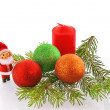 Christmas  fir-tree with doll and ball - Stock Photo