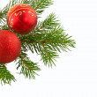 Christmas branch  fir tree with red ball - Stock Photo