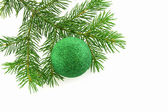 Christmas tree- fir with sphere still-li — Stock Photo