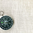 Compass on canvas — Stock Photo