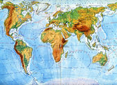 Physical map of world — Stockfoto