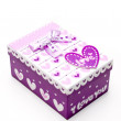 Beautiful hand-made purple gift box - 图库照片