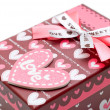 Foto Stock: Hand-made red heart gift box