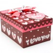 Beautiful hand-made purple gift box isol - Foto de Stock