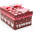 Beautiful hand-made purple gift box isol - Foto Stock
