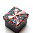 Beautiful hand-made black gift box — Stock Photo