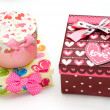 Three hand-made gift boxes isolated - Stock Photo