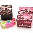 Three beautiful hand-made gift box — Stock Photo