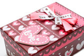 Hand-made red heart gift box — 图库照片