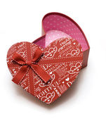 Opened hand-made red heart gift box — Stock Photo