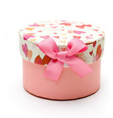 Beautiful hand-made pink gift box — Stock Photo