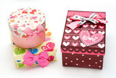Three hand-made gift boxes isolated — Stock Photo