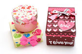 Two beautiful hand-made gift box — Stock Photo