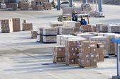 Cargo made in china at the airport — Foto Stock