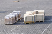 Crates on the ground of the airport — Stock Photo
