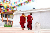 Two Tibetan Children Buddhist Monks — Stock Photo