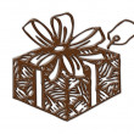Cartoon gift box shape chocolate — Stock Photo