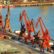 Cranes in remontowa dockside — Stock Photo