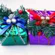 Christmas decoration present box — ストック写真