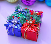 Christmas decoration present box — Stock Photo