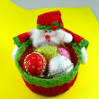 Little basket with gifts for Christmas — Stockfoto