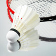 White shuttlecock and badminton racket - Stock Photo