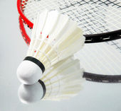 White shuttlecock and badminton racket — Stock Photo