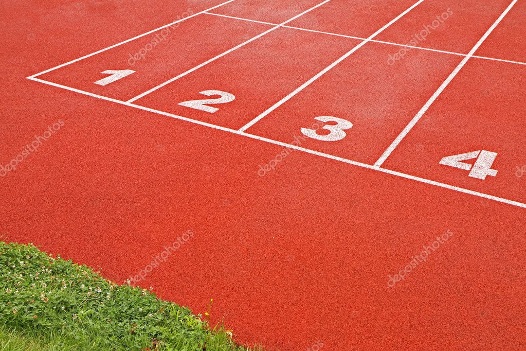 Numbers of track lanes in sports runway — Stock Photo #2448623